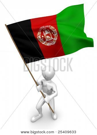 Men with flag. Afganistan. 3d