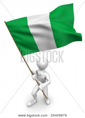 Men with flag. Nigeria. 3d