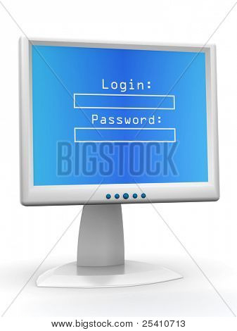Monitor with Login and password. 3d
