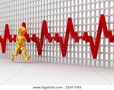 ejecuta los hombres en el fondo de los latidos del corazón del gráfico. 3D