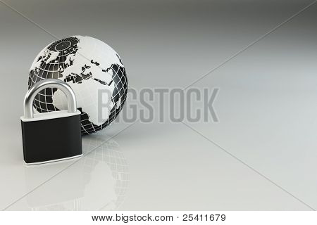 Earth with padlock on grey background. 3d
