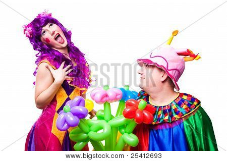 Loving Clowns With Colorful Flowers