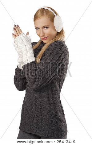 Cute Girl Ready For The Winter Cold Day Standing  And Feeling Cold