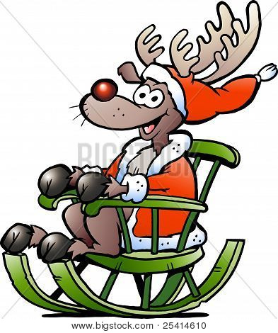Hand-drawn Vector Illustration Of An Reindeer Sitting In Rocking Chair