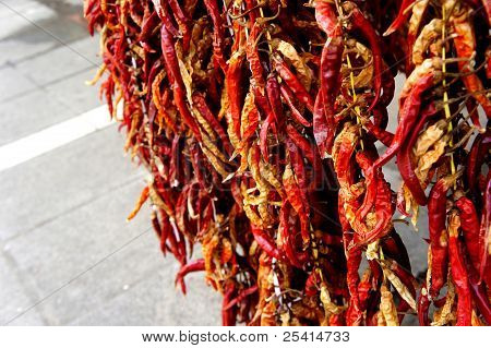 chilli hanging from rope for market sale
