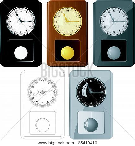 Set Of Vector Images Pendulum Clocks