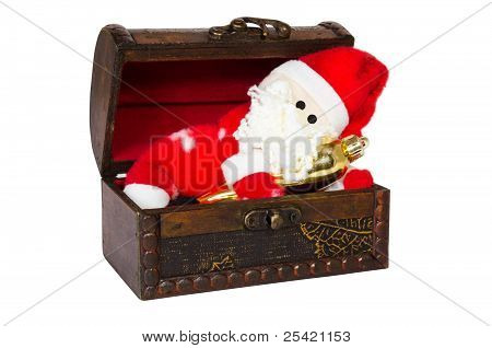 Toy Santa Klaus In An Antiquarian Chest