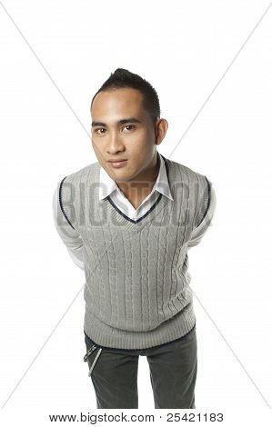 Friendly asian man leaning forward