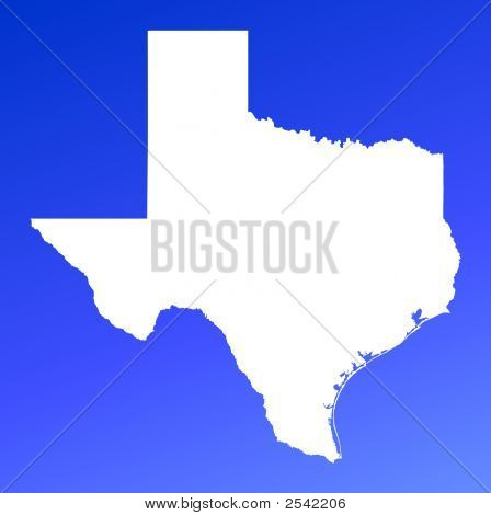 Texas(Usa) Map On Blue Gradient Background