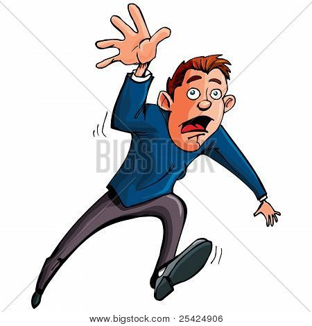 Cartoon Man Running And Reaching Forward