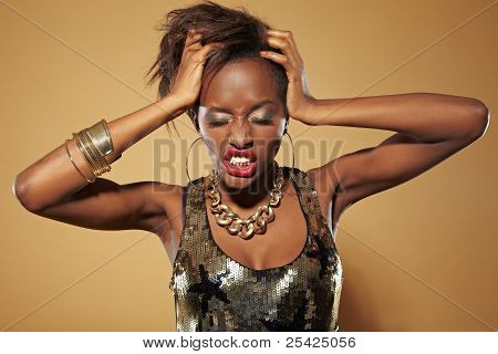 Frustrated young african woman