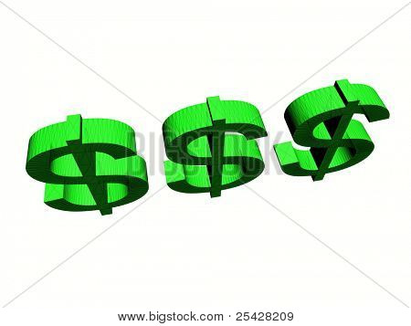 3D Illustration of three dollar signs