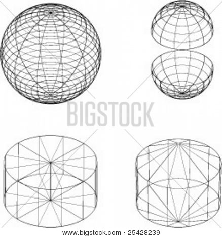 Vector illustrations of various wireframe 3d shapes
