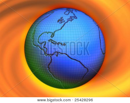 Illustration of world/earth with colorful swirl background