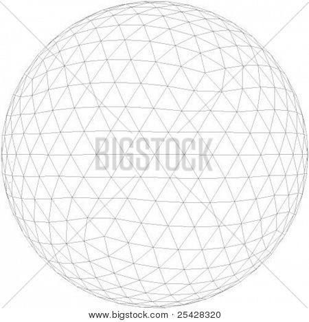 Vector illustration of 3d globe with triangular faces
