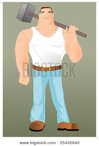 Big workman with hammer