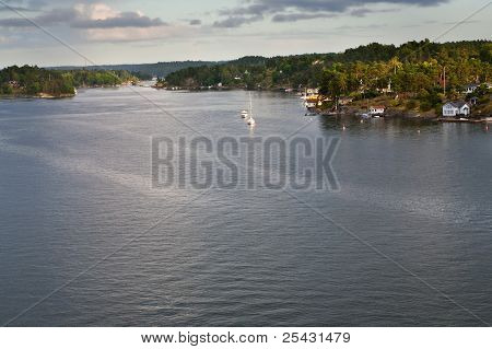 View On Swedish Fiord At Sunset