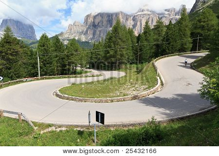 Winding Road On Dolomites