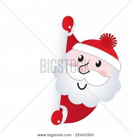 Santa Claus Holding Blank Banner Sign, Isolated On White.santa Claus Holding Blank Banner Sign, Isol