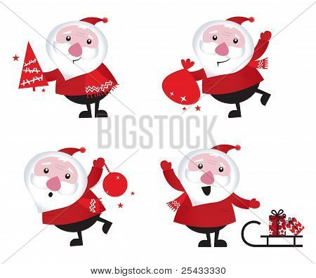 Cute Cartoon Santa Claus Set Isolated On White.cute Cartoon Santa Claus Set Isolated On White.cute C