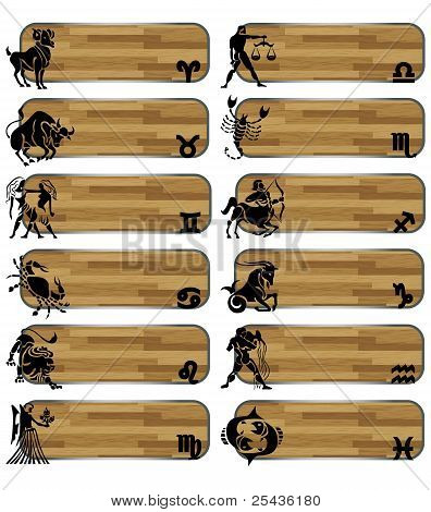 Set Zodiac Wood Banner