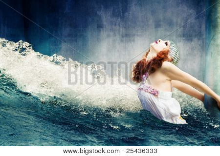 apocalyptic scene of flood with helpless  woman  hold on column