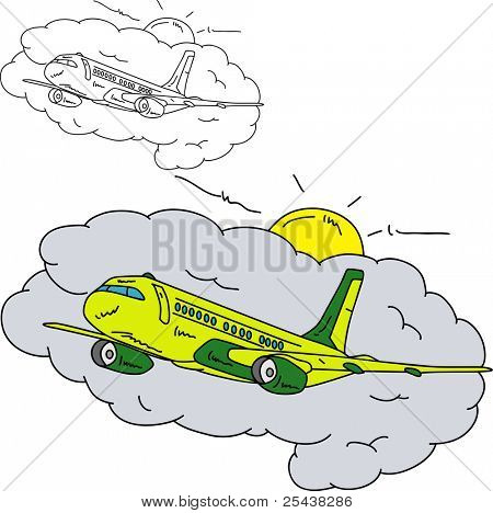 vector - Airplane in the sky, isolated on background