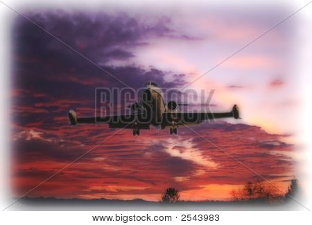Jet Landing During Sunset