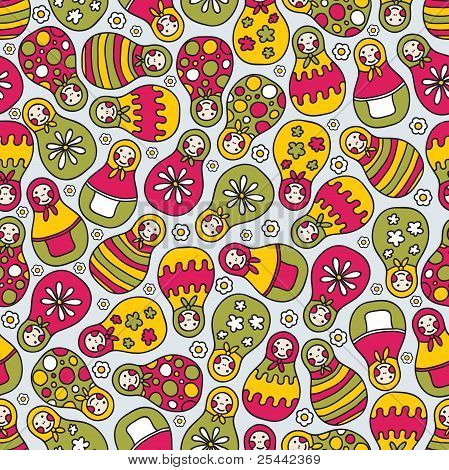 Matreshka doll seamless pattern.