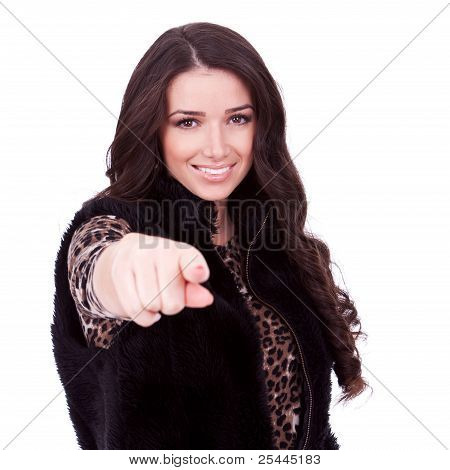 Woman In Fur Jacket Pointing
