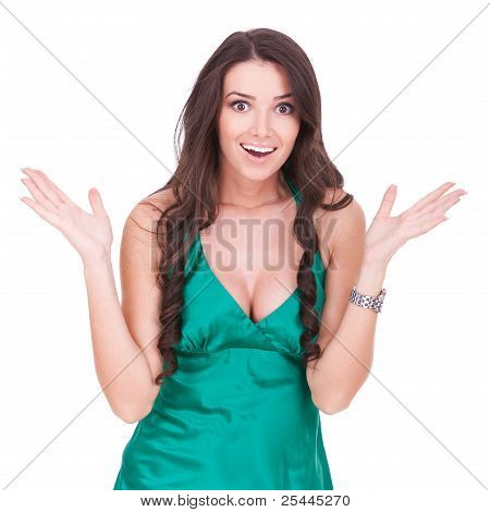 Casual Young Woman Looking Very Excited
