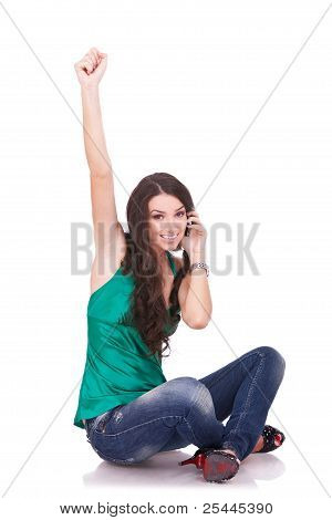 Casual Girl Cheering During Phone Call
