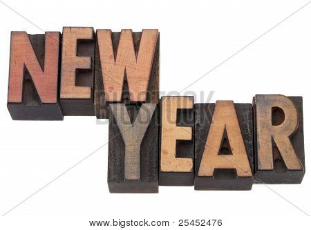 New Year In Letterpress Type