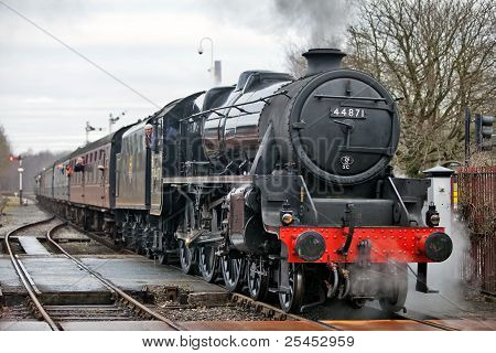 Black 5 Stanier On A Level Crossing