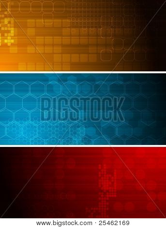 Set of bright technical banners with different elements