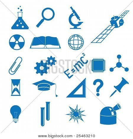illustration of the icons to subjects of the science
