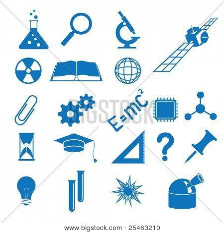 Ilustração dos ícones para temas da ciência