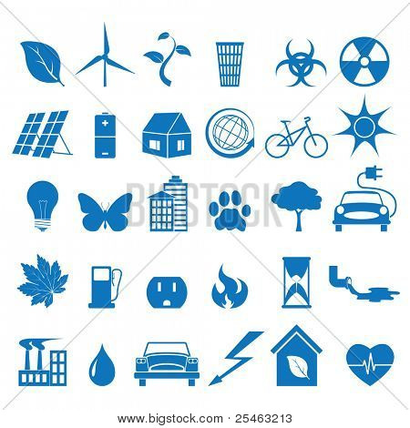 illustration of icons on the theme of ecology