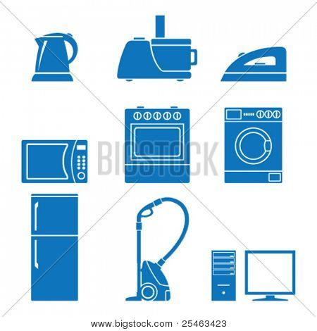 Vector illustration of icons on the topic of household appliances