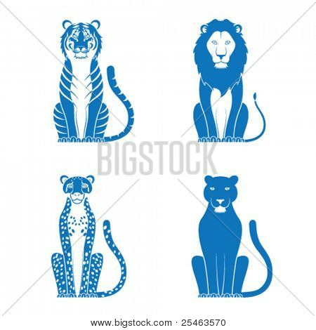 Vector illustration of a tiger lion cheetah and panther