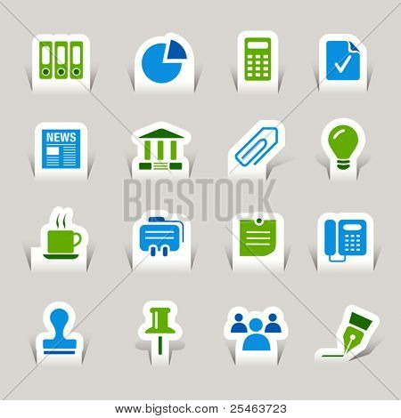 Papier Cut - Office and Business pictogrammen