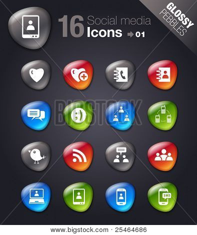 Glossy Pebbles - Social media icons