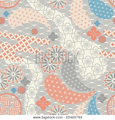 Seamless japanese style pattern. illustration vector.
