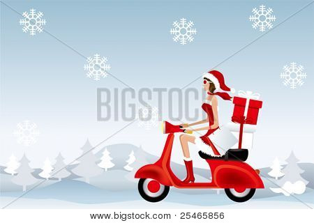 Scooter Santa Girl. Illustration vector.