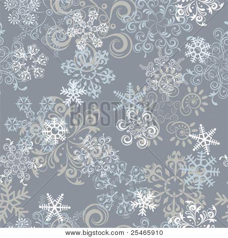 Abstract seamless snowflake pattern. Illustration vector.