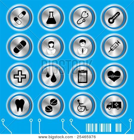 Blue medical icons set. Illustration vector.