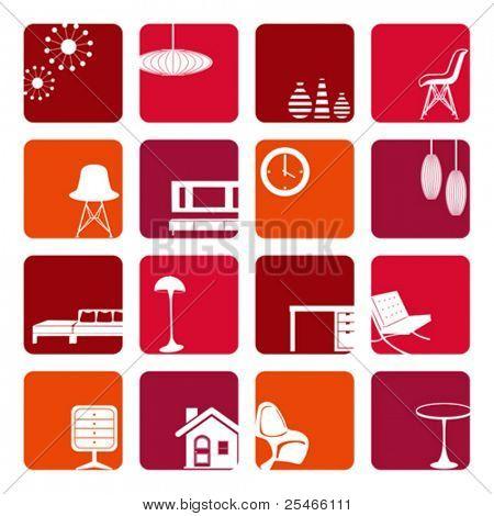 Постер, плакат: Интерьер Красного украшения установить Вектор Иллюстрация , холст на подрамнике