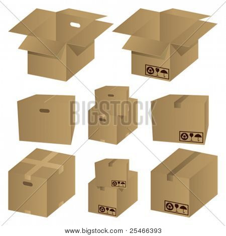 Brown cardboard icons set. Illustration vector.