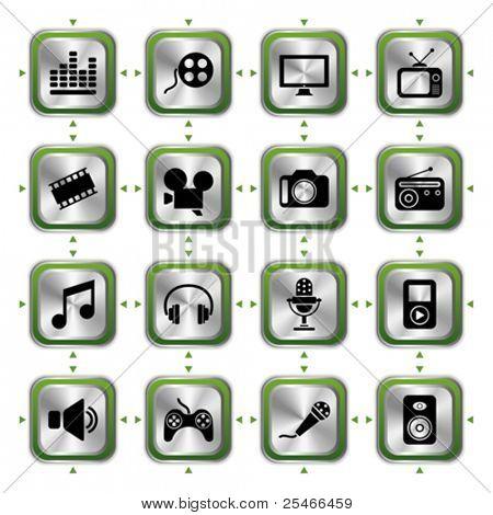 Multimedias icons set HL. Vector de ilustración
