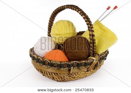 Assorted yarn in basket, isolated on white